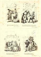 1840 VICTORIAN PRINT ~ SCENES IN LONDON Nos. 5 to 8 ~ HENRY HEATH CARICATURE