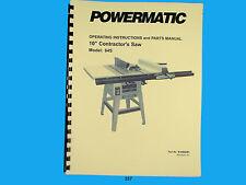 "Powermatic  Model 64S   10"" Contractors Saw Instruction & Parts List Manual *257"