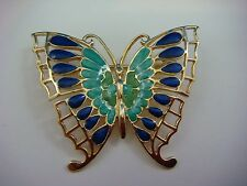 14K YELLOW GOLD BUTTERFLY BROOCH, MULTI-COLOR ENAMEL 6.4 GRAMS, MADE IN ITALY