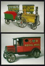Set of 2 Museum Postcards: TRAIN LOCOMOTIVE + ROYAL MAIL VAN Old tin Toys 1920s