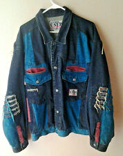 Vintage  GET NAME USED BY ELIE Denim Jean Coat Jacket Ripped Style Colorful Men