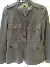 Authentic Burberry Grey Wool Military Style Coat Jacket US 10 UK 12 Excellent
