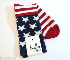 b.ella Ladies Cotton Blend Crew Socks Patriotic Flag Red White Blue - NEW