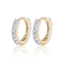 18 k Gold Plated Baby Girl Christening Gift Sparkle Hoops First Earrings E1251