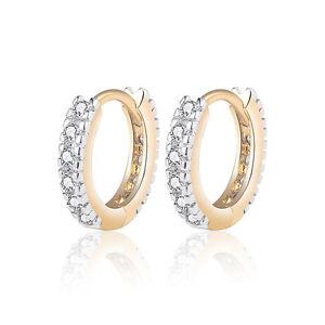 18 k Gold Plated Baby Girl Christening Gift Sparkle Hoops First Earrings E1251