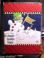 Mary Engelbreit 80 Page Journal Snowman Walking With White Dog Behind Him