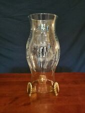 Partylite Clear Glass Seashell Candle Hurricane With 3 Brass Seashell Feet