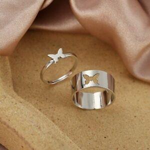 Vintage Butterfly Rings Women & Men Lover Promise Couple Ring Set Adjustable UK
