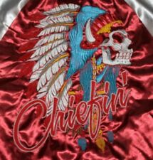 CHIEFIN Indian Jacket satin medium M carbon maroon silver embroidered