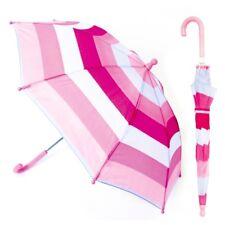 KS Brands Uu0005 16 Inch Crooked Handle Auto Pink Shades Striped Kids Umbrella