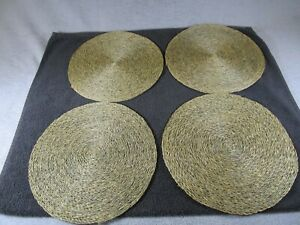 4 Vintage Wicker / Rattan Round Table Mat Placemats Seagrass Sage Green Colour
