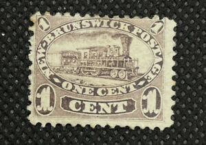 1860 New Brunswick Stamp #6 One Cent Red Lilac Locomotive Train MHH