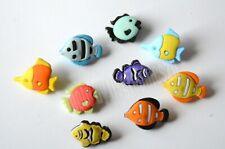 Tropical Fish Shank Button Embellishments / Angel Fish / Clown Fish