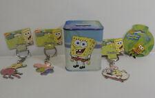SPONGE BOB SQUARE PANTS :  SET OF 3 KEYRINGS, 1 PIN, 1 MONEY BOX BUNDLE (TK)