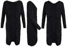 ALL SAINTS SARANNE BLACK STRETCH RUCHED MINI DRESS 8 UK £95!