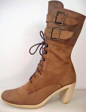 Espace Robert Clergerie Lace Up 2 Straps Buckle Combat Heeled Boots Women US 7.5