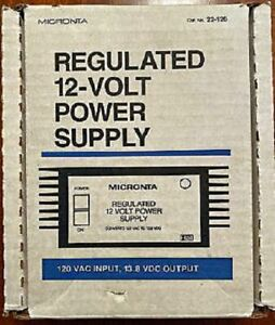 Old Stock MICRONTA Regulated 12 Volt Power Supply Model #22-120 Complete New Box