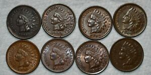About Uncirculated 1865, 1883, 1892, 3x 1895, 1902, and 1909 Indian Head Cents