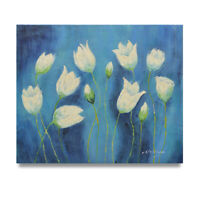 NY Art - Surreal White Tulips on Blue 20x24 Original Oil Painting on Canvas!
