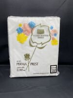 NEW VINTAGE SEARS FITTED BOTTOM TWIN SHEET PERMA PREST PERCALE SOLID WHITE