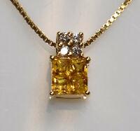 Yellow Sapphire & Diamond Pendant in 18K Yellow Gold with 14K YG Chain