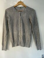 Benetton Cardigan Grey Pearl Buttons Wool Angora Blend S Small