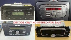 FORD SONY 6000 6006 CD DAB 6 DISC RADIO CODE DECODE SERVICE,MONDEO,FIESTA,KA