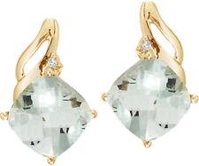 14K Yellow Gold Green Amethyst and Diamond Earrings