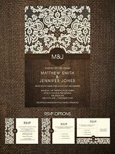 Wedding Invitations Burlap, Lace & Monogram 50 Invitations & RSVP Postcards