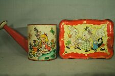 vintage old Fern Bisel Peat Peter Rabbit bunny tin tray metal watering can toy