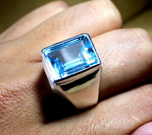 Blue Topaz Gemstone Solid 925 Sterling Silver Thanksgiving Solitaire Mens Ring
