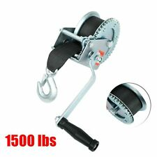 1,500 lb Manual Trailer Winch with Hook and 20' Strap Hand Crank Boat Pull Tow