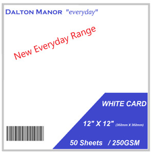 """DALTON MANOR 12"""" X 12"""" WHITE CARD IN 250gsm OR 300GSM CHOICE OF PACK QUANTITY"""