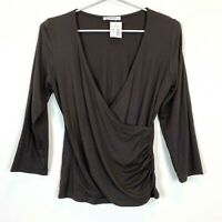 BNWT Portmans Womens Brown Long Sleeve Crossover Blouse Top Size S