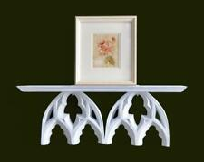 "20"" Resin & Wood Wall Shelf Distressed Chalk Painted White Cottage Gothic"