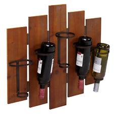 Étagère à vin murale HWC-B99, bois métal pour 5 bouteilles 60x60x12cm