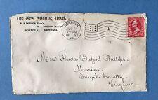 1897 Cover  The New Atlantic Hotel Norfolk Virginia Backstamp Marion VA