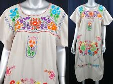 70s 80s Embroidered Mexican Caftan Dress Oaxacan Festival Indie Hippie XL O/S