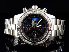 Custom Mens Breitling A13370 Super Avenger XL 48MM S.Steel with Diamonds 4.5 Ct