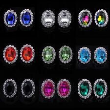 Women Multicolor Oval Full Rhinestone Crystal Ear Stud Earrings Wedding Jewelry