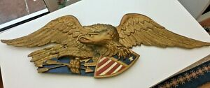 """Vintage Painted Cast Aluminium American Eagle with Shield Wall Plaque 42"""" Long"""
