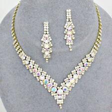 Aurora Borealis gold tone diamante AB sparkly jewellery set Brides proms 0346