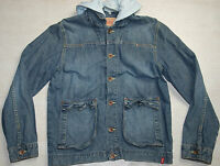 LEVIS DENIM JACKET HOODED BLUE HOODIE HIP GIRLS 14 15 YEAR SMALL MEDIUM S M