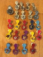 Vintage Metal Christmas Tree Candle Holders Clips Ornaments Multi-Colored Tin