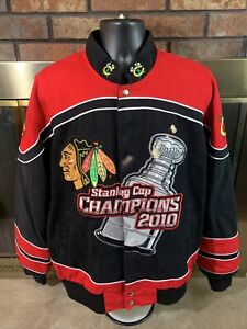 CHICAGO BLACKHAWKS NHL Hockey 2010 STANLEY CUP CHAMPIONS JACKET Mens Size Large