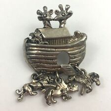 Vintage Dainty Noahs Ark Brooch Pin Dangle Charms Small Silver Tone
