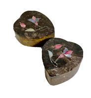 Vintage Small Marble Trinket Jewelry Box With Pink Flower Design - Set Of 2
