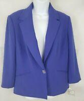 Kasper Women Size 14 Purple One Button Pleat Back 3/4 Sleeve Jacket