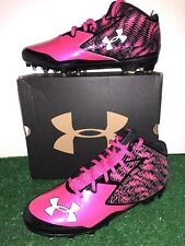 UNDER ARMOUR NITRO MID MC FOOTBALL CLEATS BREAST CANCER AWARENESS PINK MENS 15