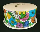 Vintage Ballonoff Floral Decorated Tin Cake Carrier Flower Power Mod 60s Style
